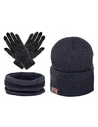 AWAYTR Unisex Winter Warm Beanie Hat - Scarf Touch Screen Gloves,3 Pieces Set