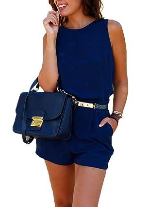 54f27bce777 ZhuiKunA Women s Casual Elastic Waist Pocket Shorts Jumpsuit with Belt Blue  XL