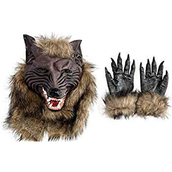 Latex Wolf Head Mask Halloween Costumes Werewolf Mask with Werewolf Hands  sc 1 st  Amazon.com & Amazon.com: Latex Wolf Head Mask Halloween Costumes Werewolf Mask ...