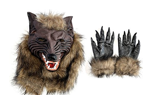 Latex Wolf Head Mask Halloween Costumes Werewolf Mask with Werewolf Hands