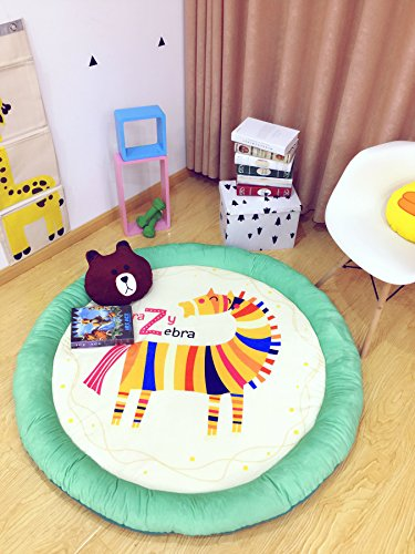 Cartoon Soft Fenced Play Mat, Extra-Thick Non-Toxic for Kids Flannel 60 inch Pentagram Round by HugeHug (Zebra)