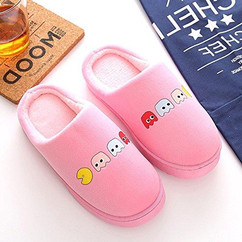 Inverno habuji pantofole di cotone cartoon femmina antiscivolo morbidi scarpe a casa calda scarpe indoor maschio, 37-38, rosa
