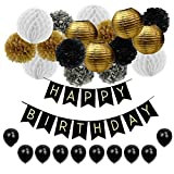 JUSLIN 17 Gold Silver Black Paper Pom Poms Paper Lanterns, 10 Balloons & 1 Banner for Birthday Party Decoration (Black)
