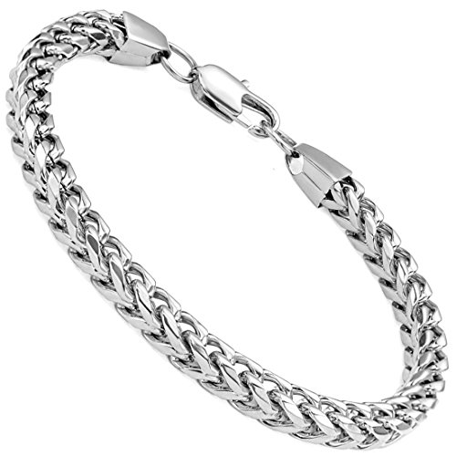 FIBO STEEL 6mm Curb Chain Mens Womens Bracelet Stainleel Steel Biker High Polished, 8.5