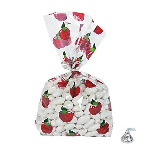 Fun Express - Fall Apple Cello Bags (dz) for Halloween - Party Supplies - Bags - Cellophane Bags - Halloween - 12 Pieces ()