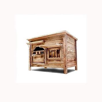 Puerta mediana con ventana exterior cubierta plana superior de carbón de madera casa de perro caseta de perro arena para ...