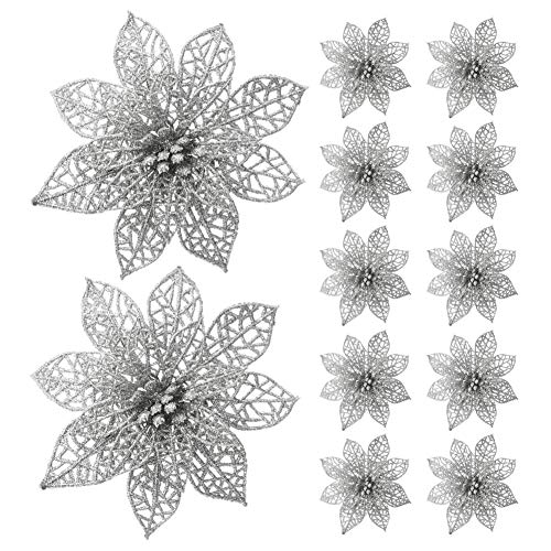 Poinsettia Silver - Turelifes 12 Pack Glitter Artificial Poinsettia Flowers Christmas Tree Ornaments 5.9''(15cm) Diameter (Silver)