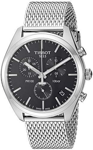 Tissot Mens PR 100 Swiss Quartz Stainless Steel Dress Watch Model T1014171105101