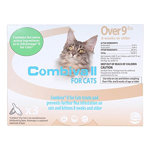 CEVA Animal Health D93120B Combiva II for Large Cats +9 lbs. (3 Pack) Pet Flea Drops by CEVA Animal Health (Image #1)