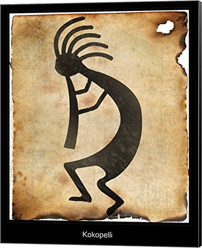 Kokopelli II Canvas Art Wall Picture, Museum Wrapped with Black Sides, 16 x 20 (Decorating Western Style Ideas)