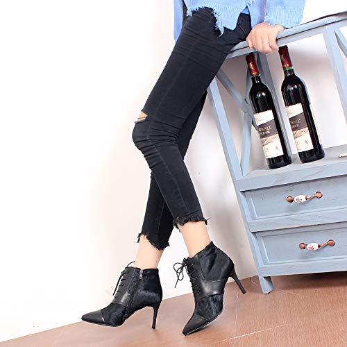LBTSQ-Mode Damenschuhe Krawatte Spitzer Kopf Mit Mit Mit Hohen 8 cm Kurze Stiefel Witze Dünnen Absätzen Schwarz Zusammenfügen Ma Dingxue 973949