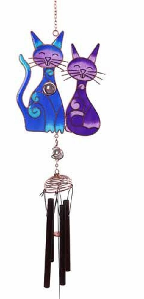 2 Cats Windchime - Purple & Blue Cat Windchime Windhorse