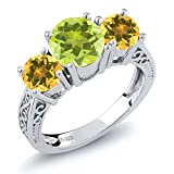 2.10 Ct Round Yellow Lemon Quartz Citrine 925 Sterling Silver 3-Stone Ring