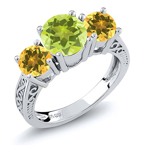 Lemon Citrine Ring (2.10 Ct Round Yellow Lemon Quartz Citrine 925 Sterling Silver 3-Stone Ring)