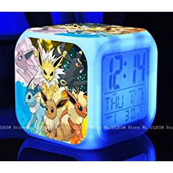 POKEMON PIKACHU Cartoon Games Action Figure 7 Colors Change Digital Alarm LED Clock Cartoon Night Colorful Toys for Kids (Style 12)