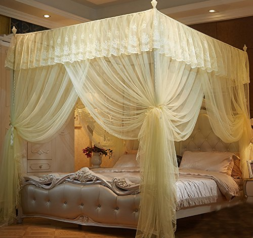 Nattey 4 Corner Poster Princess Bedding Curtain Canopy Mosquito Netting Canopies (Queen, Yellow)