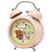 Relax twin bell clock mini pink