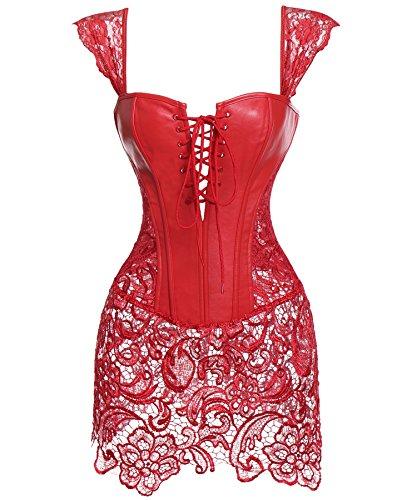(SLIMBELLE Women Corset Waist Bustier Lace Boned Adjustable Shaper Overbust Bustier-Red-M)