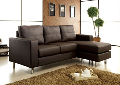 Contemporary Style Dark Brown Leatherette Finish Sofa by Furniture of America