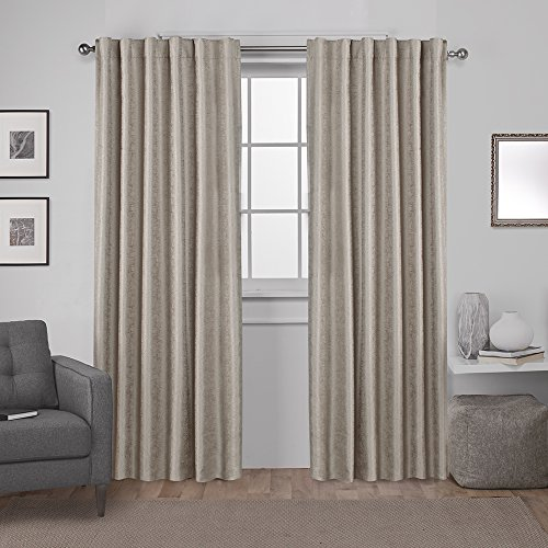 Tab Top Thermal Drapery - Exclusive Home Zeus Solid Textured Jacquard Blackout Window Curtain Panel Pair with Back Tab Top, 52x84, Natural, 2 Piece