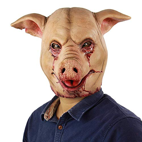 Scary Animal Latex Mask Halloween Costume Cosplay Props Bloody Pig Head Butcher Horror Adult Head Mask