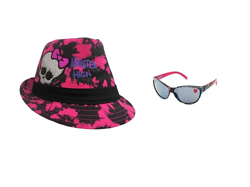 Monster High Girl's Fashion Pink Fedora and Fashion Sunglasses Set (One Size Fit Most)