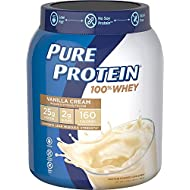 Pure Protein Powder, Whey, High Protein, Low Sugar, Gluten Free, Vanilla Cream, 1.75 lbs