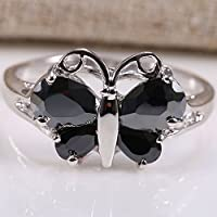 Ranbunloed Charming Jewelry Women 925 Silver Black Onyx Butterfly Ring Wedding Jewelry Gift (9)
