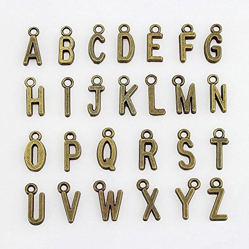LolliBeads (TM) 4 Sets of Letter Charms Pewter Antiqued Brass Bronze Bracelet Charms Dangle Hanger Necklace Pendants - Alphabetic (104 Pcs)