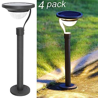 Twinkle Star 50 Lumens 42X Brighter Solar Path Lights Solar Garden LightsSolar Landscape Lights Outdoor for Lawn Patio Yard Driveway, Matte Black, 4 Pack