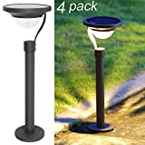 Twinkle Star 50 Lumens 42X Brighter Solar Path Lights Solar Garden Lights Solar Landscape Lights Outdoor Lawn Patio Yard Driveway, Matte Black, 4 Pack