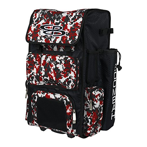 """Boombah Rolling Superpack Baseball / Softball Gear Bag - 23-1/2"""" x 13-1/2"""" x 9-1/2"""" - Camo Black/Red - Telescopic Handle and Holds 4 Bats - Wheeled Version"""