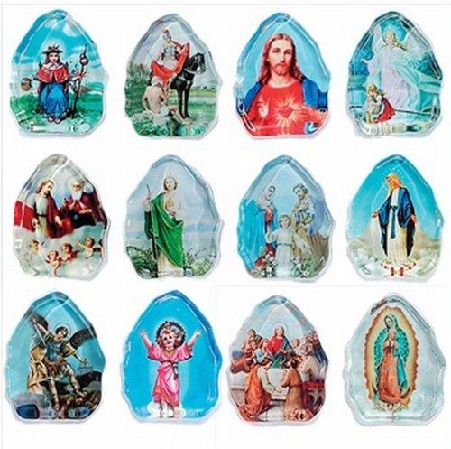 Glass Religious Icon - Religious Glass Icon Magnets Assorted - 1 Dozen