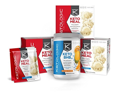 KetoLogic 30-Day Bundle – Helps Achieve Ketosis / Suppresses Appetite / Promotes Weight Loss – Vanilla Meal Replacement and Orange-Mango BHB, 30-Day Supply by Ketologic