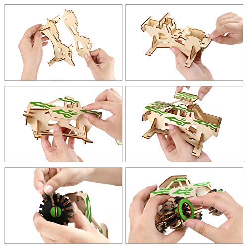 3 otters 3D Wooden Puzzle Toy, 2pcs Wood Model Kit Miniature Wooden Brain Teaser Puzzles Wooden Puzzle to Build for Adults and Children, Car, Plane