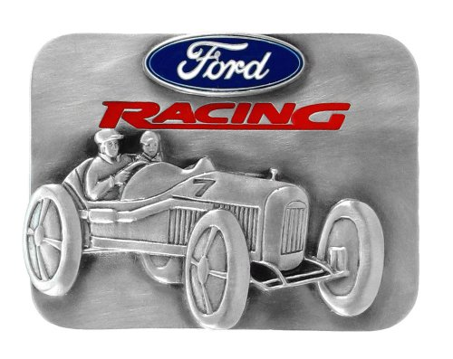 Ford Racing Enamel Pewter Belt Buckle - Ford Pewter Belt Buckle