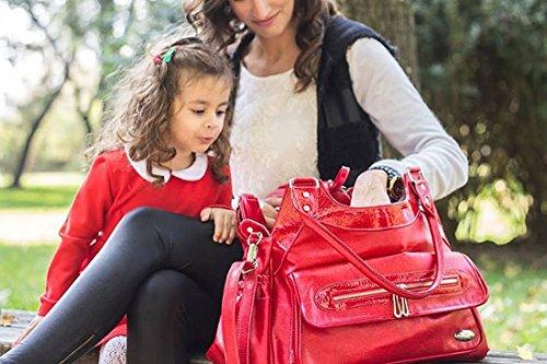 M&y bolsa cambiador con accesorios Milano con + + mucho espacio de almacenamiento bolsa para pañales sucios + cambiador + bolsa para botella correa para el hombro 6150krm rojo rojo Talla:talla única rojo
