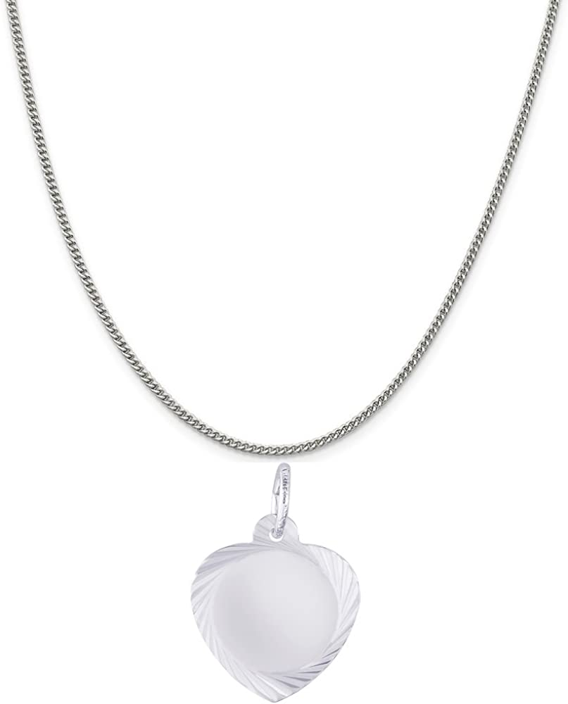 Rembrandt Charms Sterling Silver Faceted Heart Charm on a 16 Box or Curb Chain Necklace 18 or 20 inch Rope