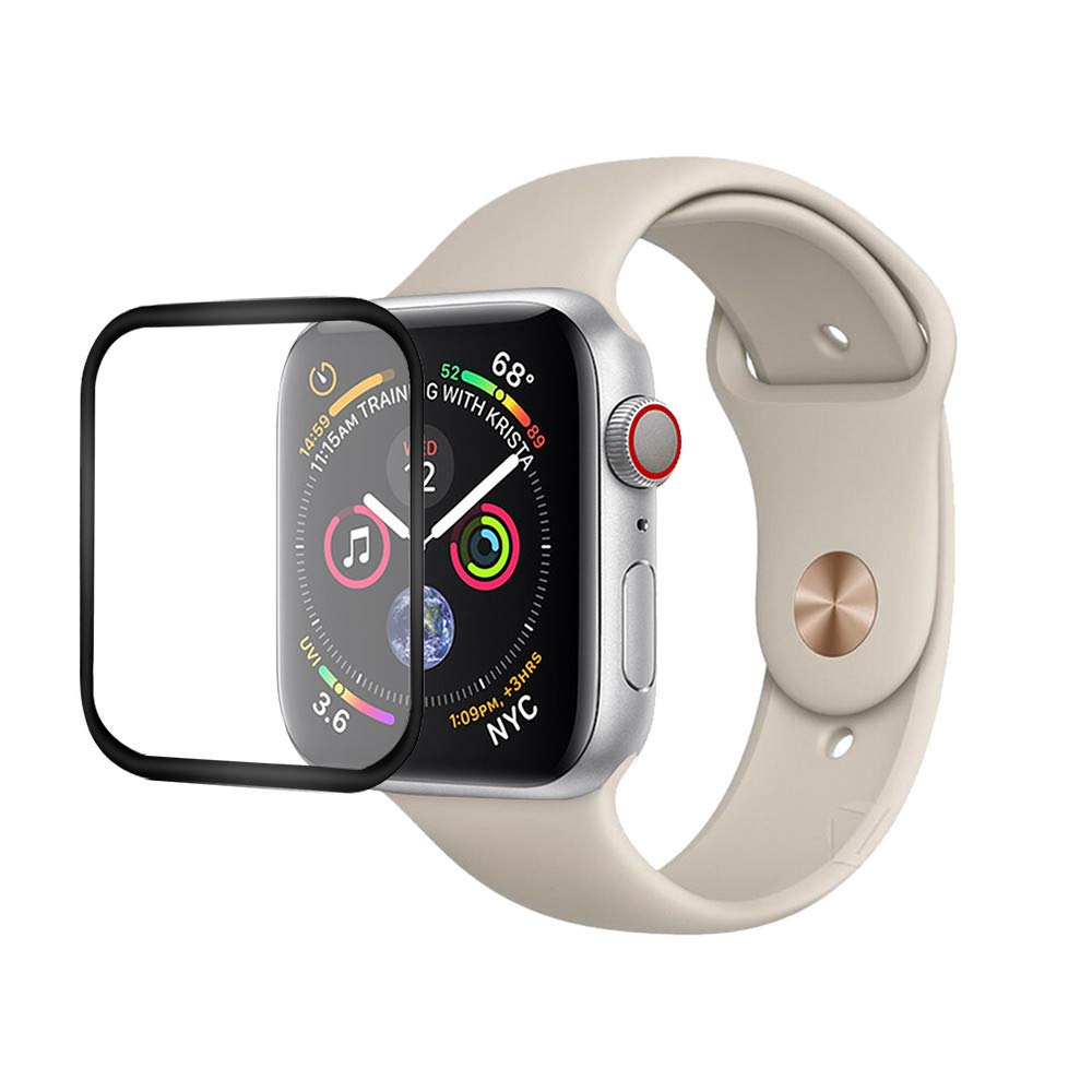 Weite Screen Protector for New Apple Watch Series 4 Screen Protector, [1 Pack] Premium Surface Hardness Full Coverage Black Edge Tempered Glass Screen Protector for Apple Watch Series 4 (40MM)