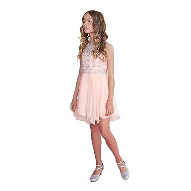 ea673fb8b Calla Collection Little Girls Blush Jewel Short Special Occasion Tween Dress  6 Light Pink