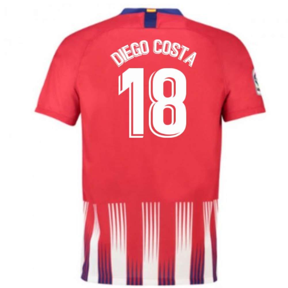 2018-2019 Atletico Madrid Home Nike Football Soccer T-Shirt Trikot (Diego Costa 18) - Kids