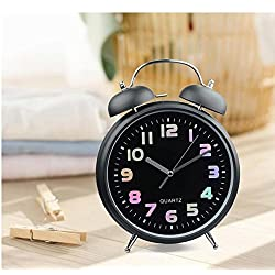 Ayzr Silent Lounge Alarm Clock, Colorful Dial, Metal Beating Bedroom Living Room Dormitory Clock,Black