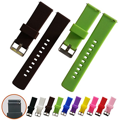 Quick Release Watch Bands - Soft Silicone Rubber - Smooth, soft, elastic slightly, 22mm 2 PCS (Brown, green)