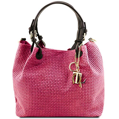 Price comparison product image Tuscany Leather TL KeyLuck Woven printed leather shopping bag Magenta