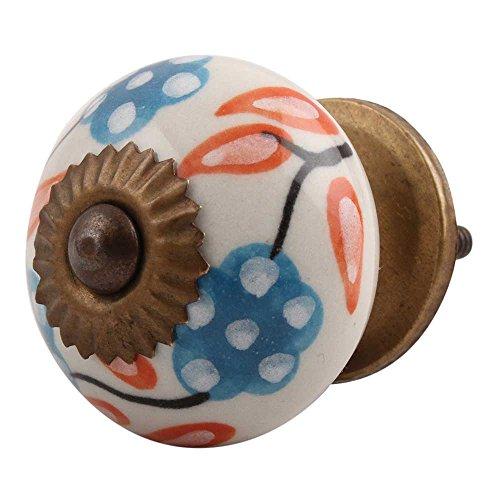 (Indianshelf Handmade 8 Piece Orange Ceramic Leaf Flower Artistic Rust Free Cabinet Knobs Vintage Dresser Pulls)