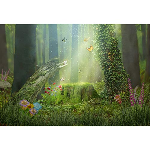 - Leowefowa 5x3FT Vinyl Photography Backdrop Enchanted Forest Green Trees Old Tree Stump Wild Flowers Butterflies Background Event Party Decoration Portrait Photo Shoot Studio Photo Booth Props