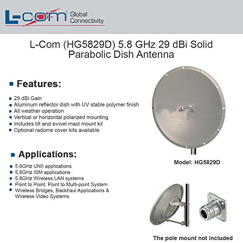 L-com HG5829D 5.8GHz 29dBi Parabolic Dish Antenna N Female Connector 5.8 Ghz Access Point