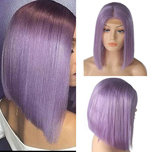 BESFOR Brazilian Virgin Human Hair Short Bob Wigs Slightly Bleached Knots Straight Glueless 150% Density Lace Front Wig For Women (10inch, light purple)