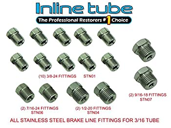 Stainless Steel Tube Fittings Nuts 3/16 Tubing 45 Inverted Flare Set Kit FPS01