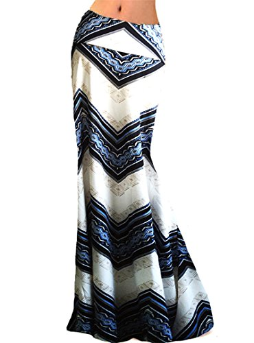 Aisa Women Ripple Printed High Waist Maxi Skirt Summer New Beach Long Skirt Dress X-Large (Printed Maxi Skirt)